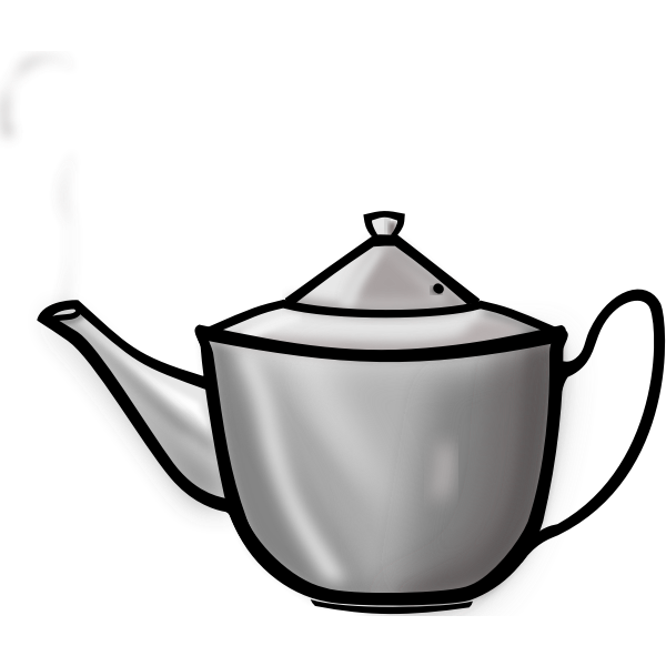 Vector image of steaming metal teapot