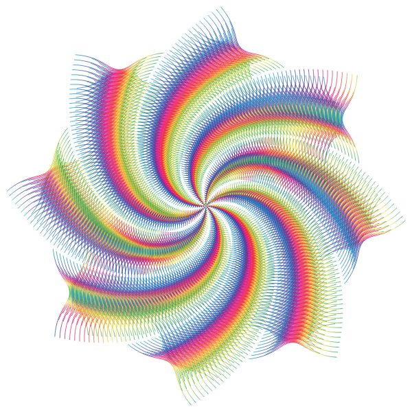 Prismatic Abstract Line Art Cyclone No Background