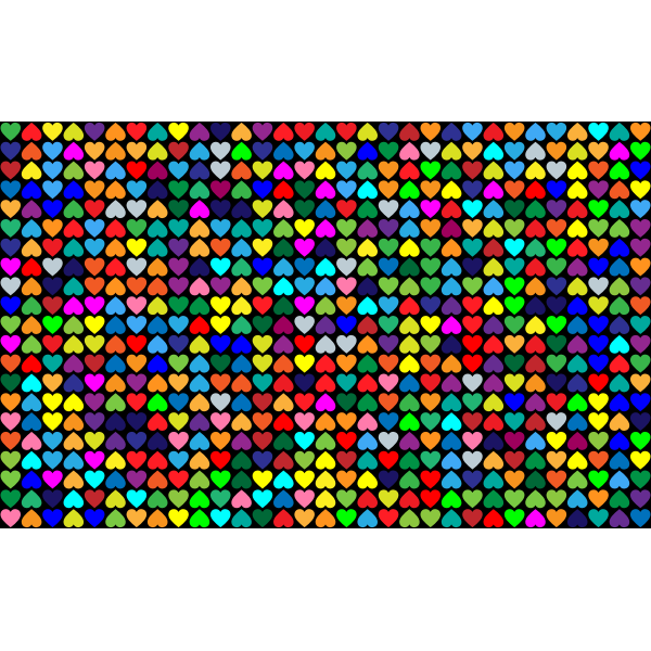 Prismatic Alternating Hearts Pattern Background 2 With Black Background