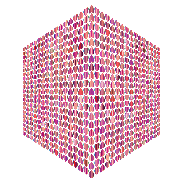 Prismatic Alternating Hearts Pattern Cube No Background