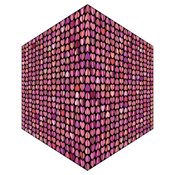 Prismatic Alternating Hearts Pattern Cube