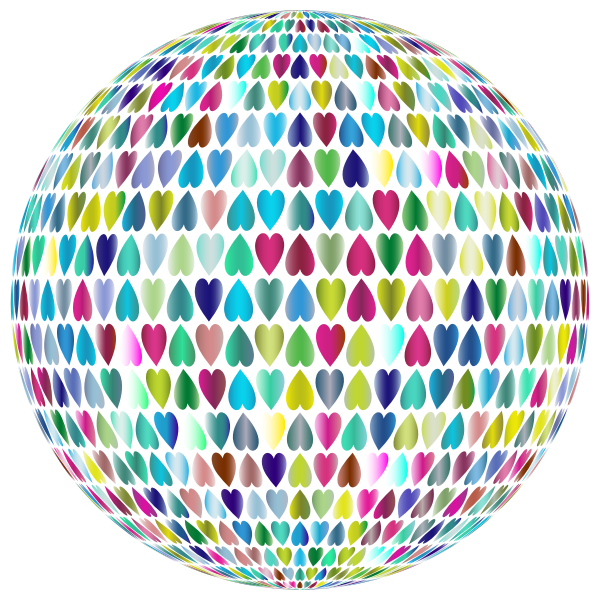 Prismatic Alternating Hearts Sphere 3 No Background