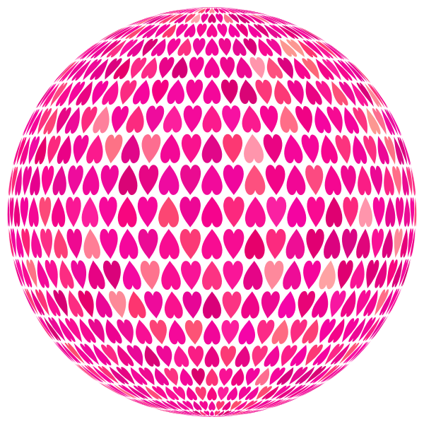 Prismatic Alternating Hearts Sphere 6 No Background