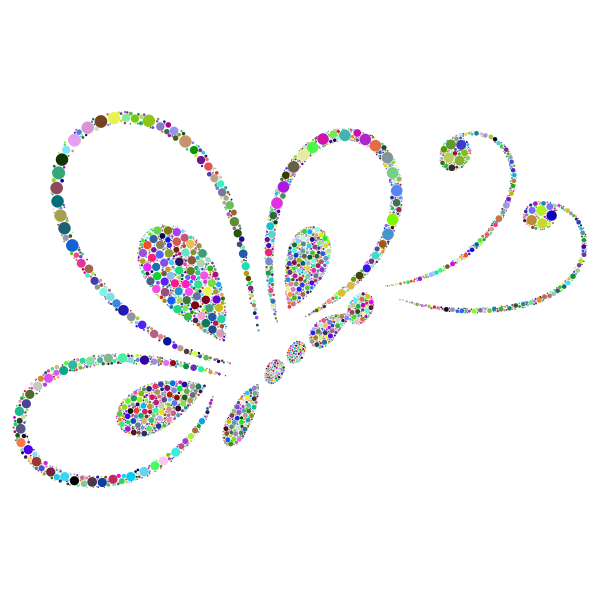 Prismatic Circles Butterfly Line Art 2
