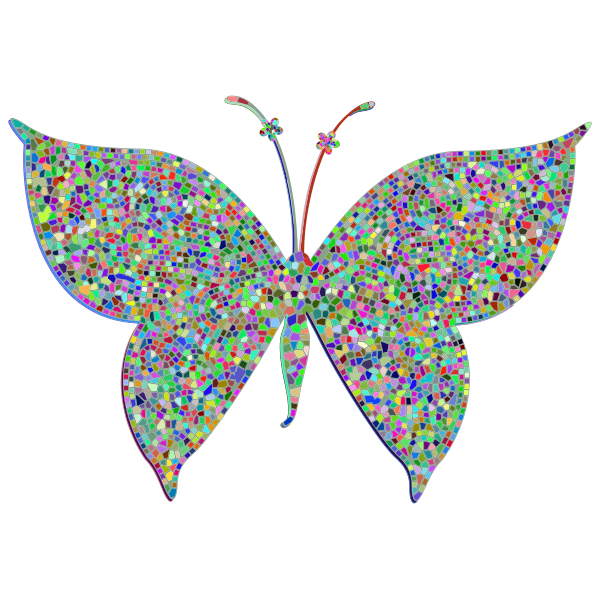 Prismatic Colorful Tiled Butterfly