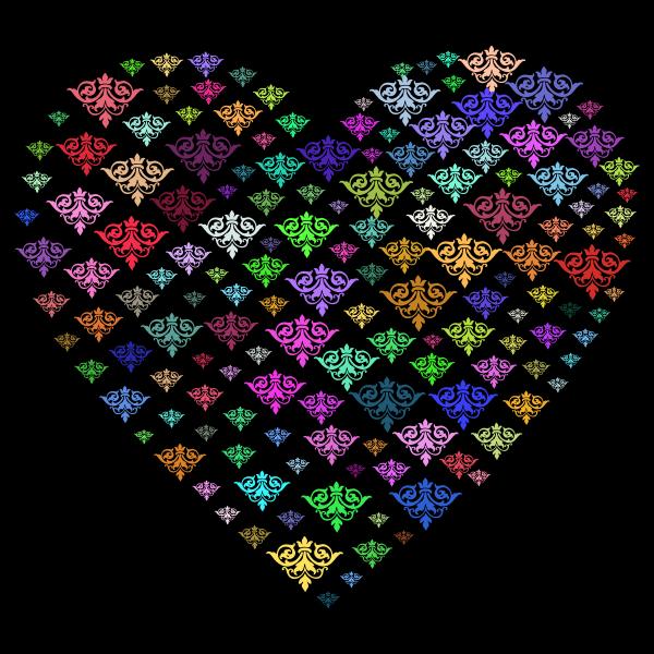 Prismatic Damask Heart