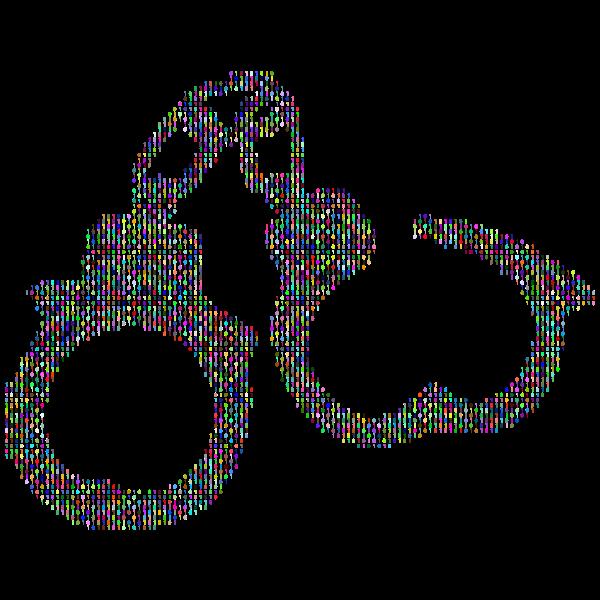 Handcuffs silhouette prismatic pattern