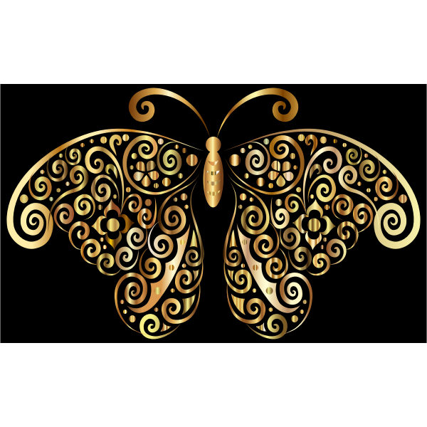 Prismatic Floral Flourish Butterfly Silhouette 4