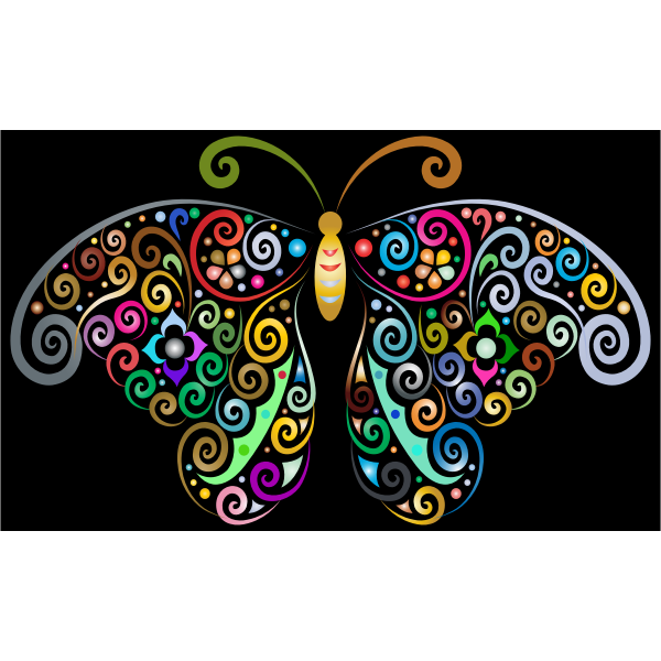 Prismatic Floral Flourish Butterfly Silhouette