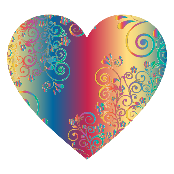 Prismatic Floral Flourish Heart 10