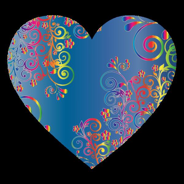 Prismatic Floral Flourish Heart 14