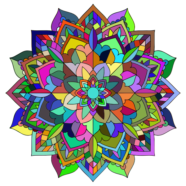Prismatic Floral Mandala Line Art