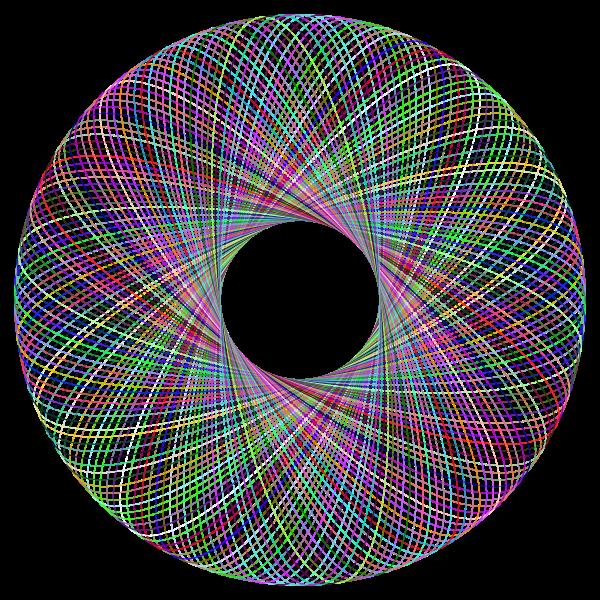 Prismatic Geometric  Line Art Torus No Background