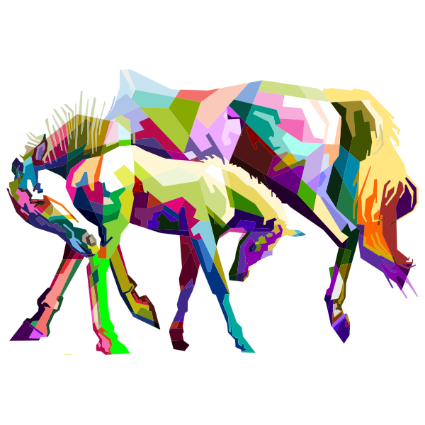 Prismatic Geometric Mother And Child Horses