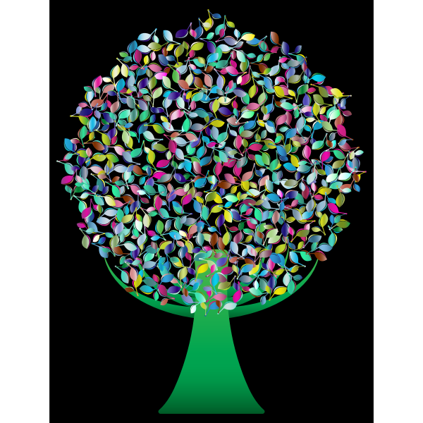 Prismatic Green Abstract Tree 4