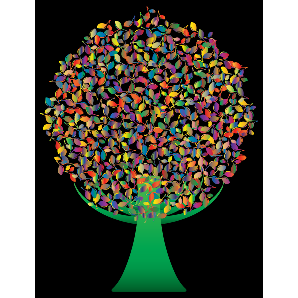 Prismatic Green Abstract Tree 5