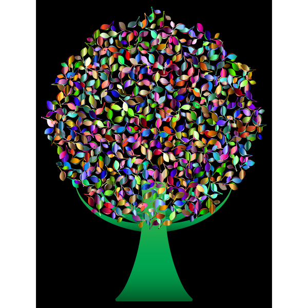 Prismatic Green Abstract Tree 6