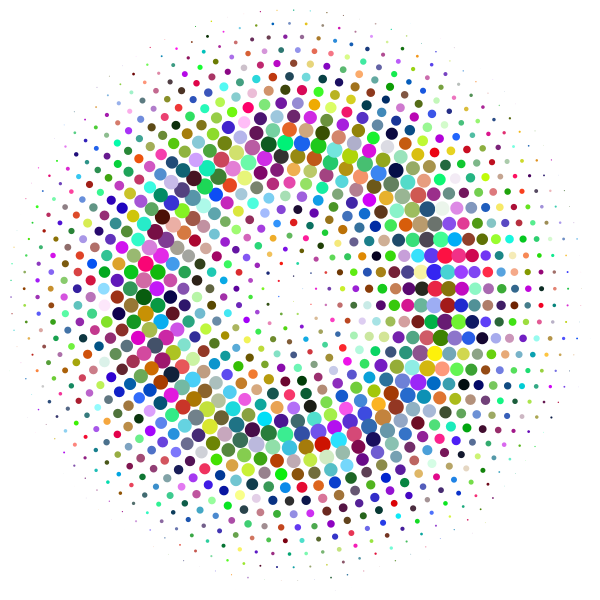Prismatic halftone circle