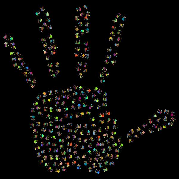 Prismatic Handprint Fractal 3 With Background