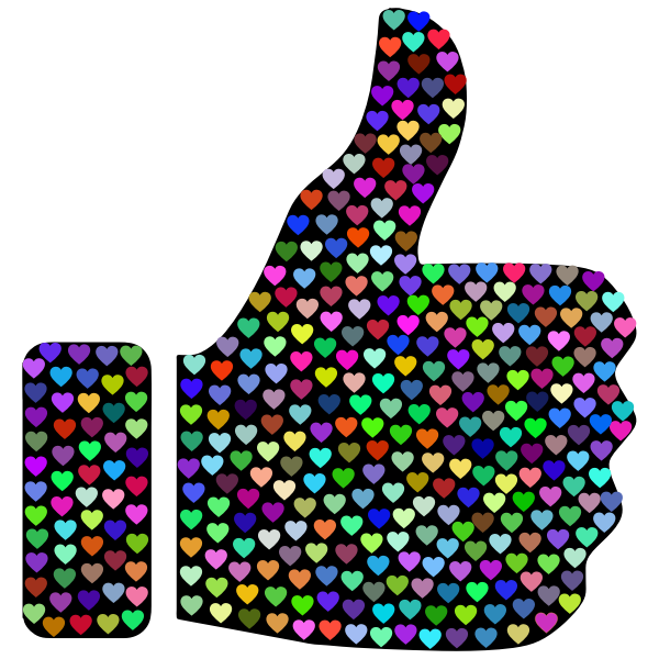 Prismatic Hearts Thumbs Up Silhouette 2
