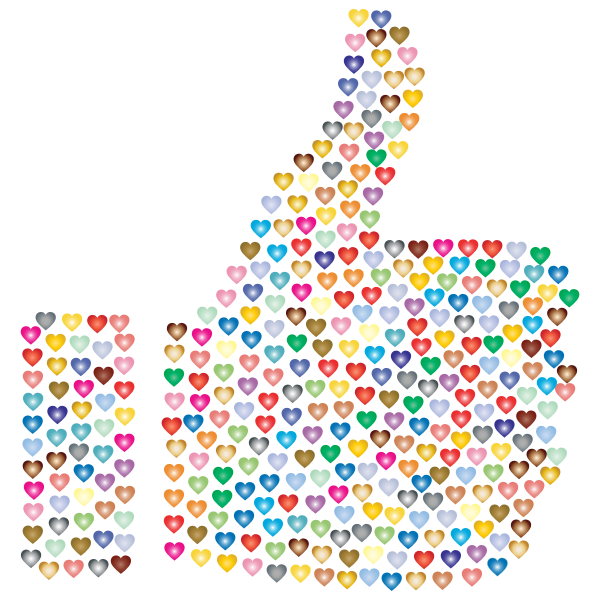 Prismatic Hearts Thumbs Up Silhouette 3 No Background