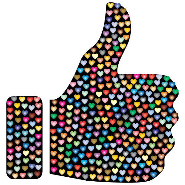 Prismatic Hearts Thumbs Up Silhouette 3