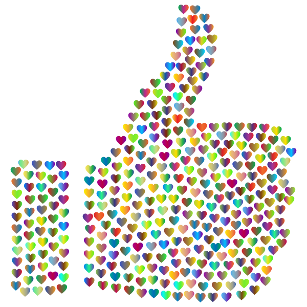Prismatic Hearts Thumbs Up Silhouette 4 No Background