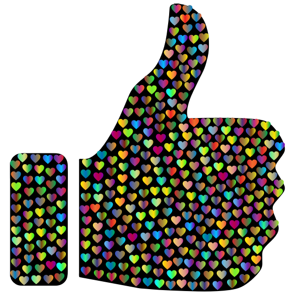 Prismatic Hearts Thumbs Up Silhouette 4