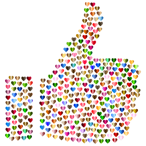 Prismatic Hearts Thumbs Up Silhouette 6 No Background