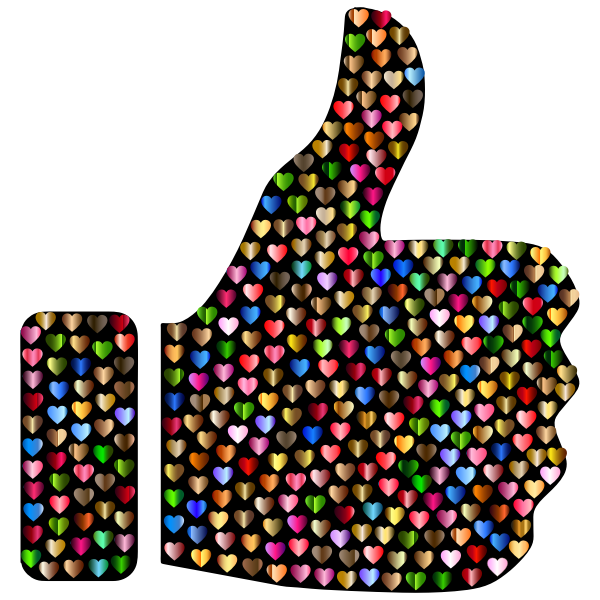 Prismatic Hearts Thumbs Up Silhouette 6
