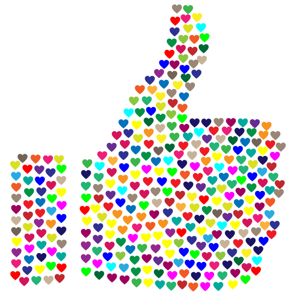 Prismatic Hearts Thumbs Up Silhouette No Background