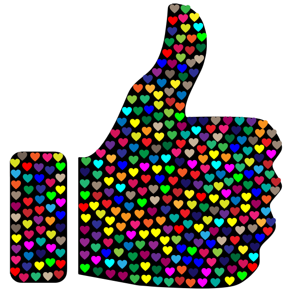 Prismatic Hearts Thumbs Up Silhouette