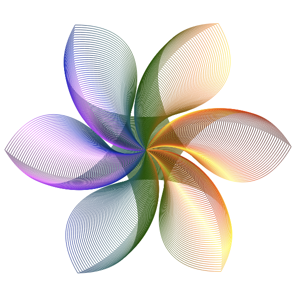 Prismatic Hexagonal Flower Shape Line Art