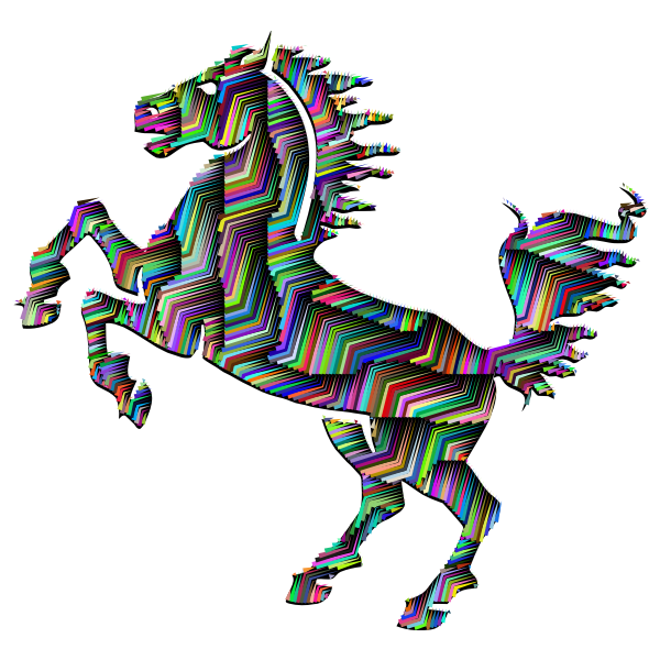 Prismatic Horse Silhouette Abstract Line Art With Background