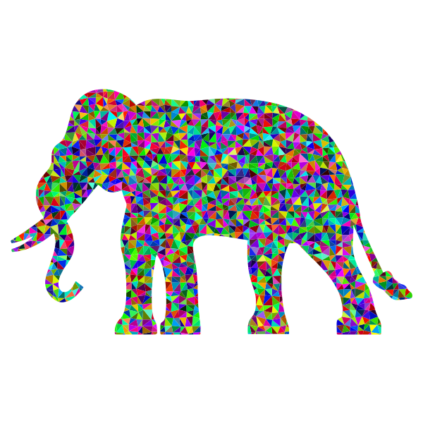 Prismatic Low Poly Elephant