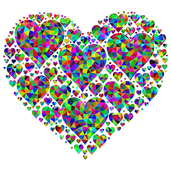 Prismatic Low Poly Hearts In Heart