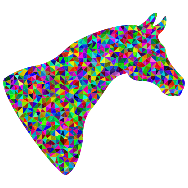 Prismatic Low Poly Horse Head