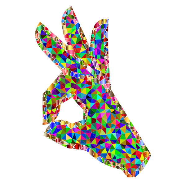 Prismatic Low Poly OK Perfect Hand Sign Emoji 2