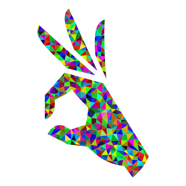 Prismatic Low Poly OK Perfect Hand Sign Emoji 3