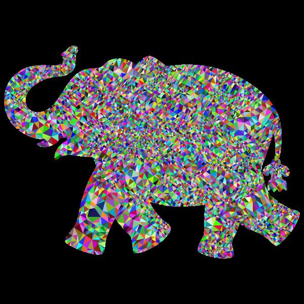 Prismatic Low Poly Playful Elephant
