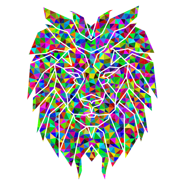 Prismatic Low Poly Polygonal Lion Face