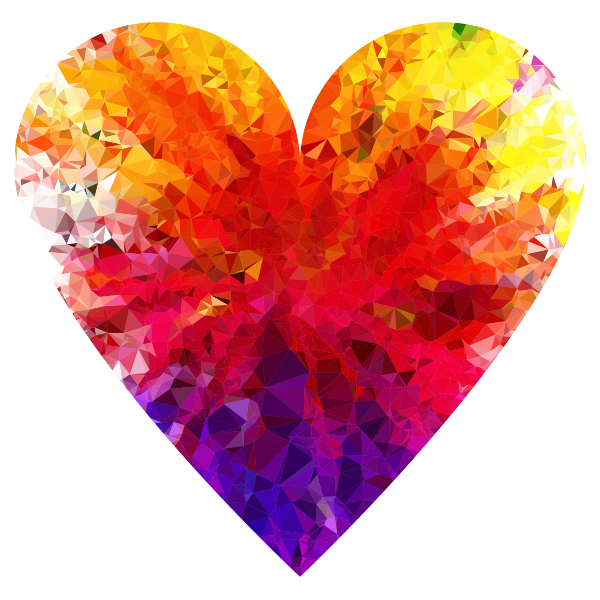 Prismatic Low Poly Traditional Heart