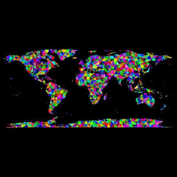 Prismatic Low Poly Triangular World Map-1578077924