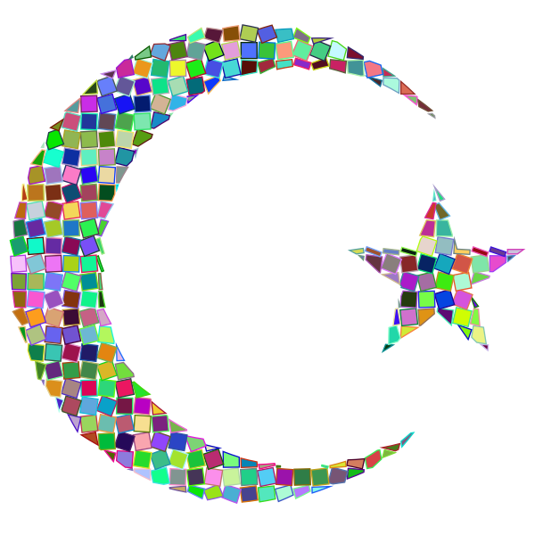 Prismatic Mosaic Crescent Star