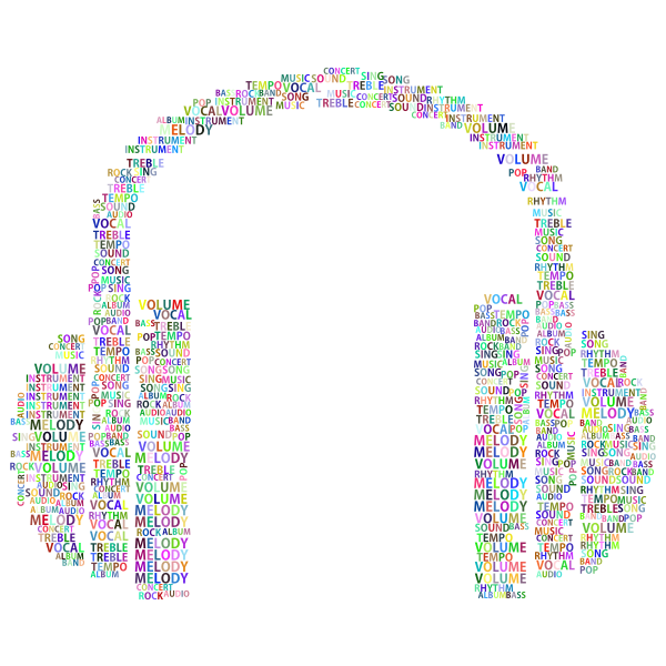 Prismatic Music Headphones Word Cloud No Background