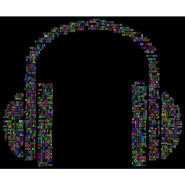 Prismatic Music Headphones Word Cloud