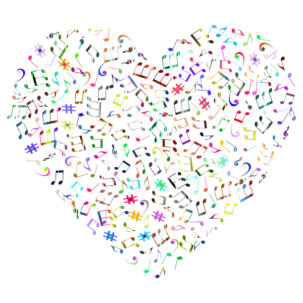 Prismatic Musical Heart 4 4 No Background
