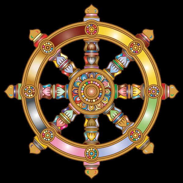 Prismatic Ornate Dharma Wheel 2