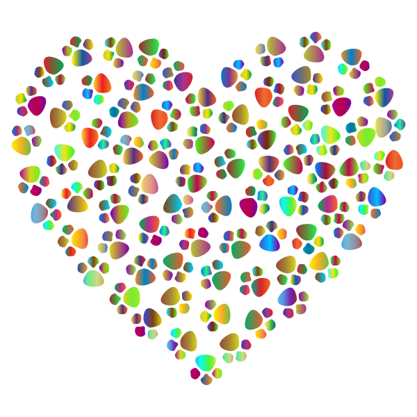 Colorful heart with paw prints