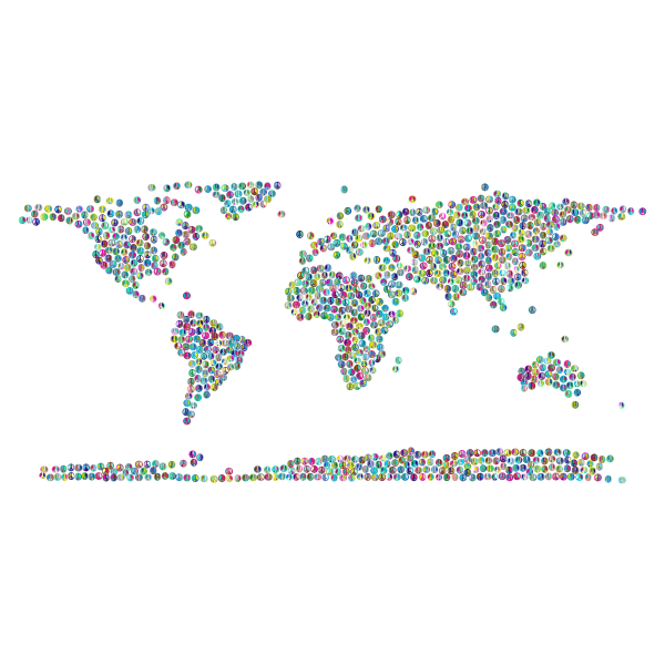 Prismatic Peace Sign World Map 3 No Background